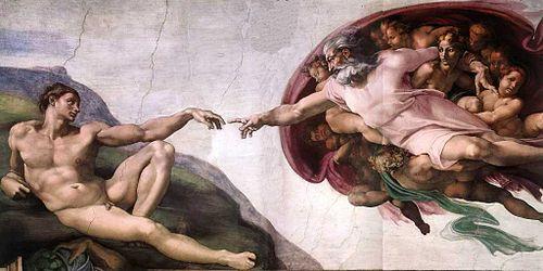 """""""La creción de Adam"""" de Miguel Ángel en la Capilla Sixtina"""