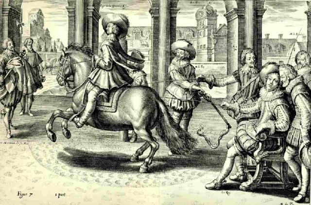 """El maestro Antoine Pluvinel (1522-1620), precursor de suavizar las ayu das y la equitación con """"pilares"""""""