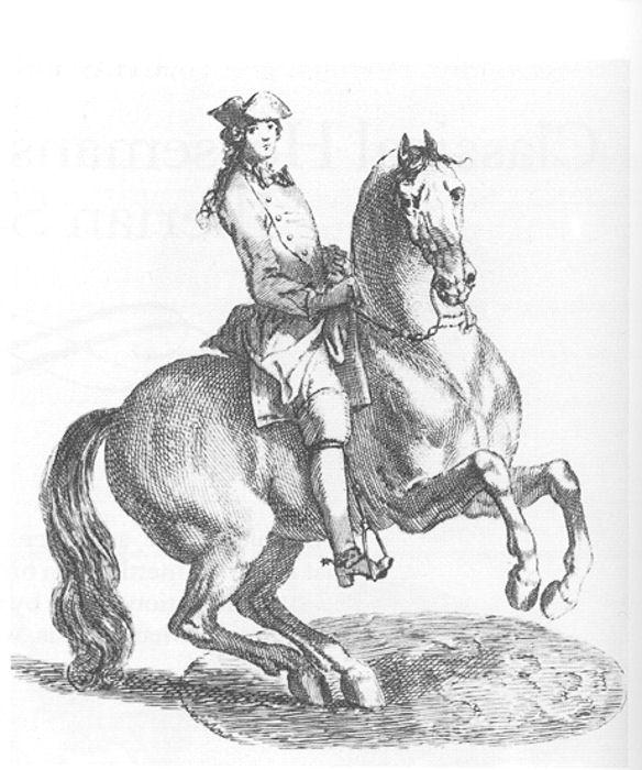 El maesto Francois Robinchon de la Guérinière (1688-1751), el padre de la espalda a dentro