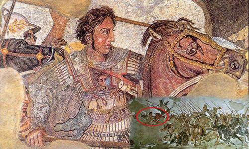 Alejandro combatiendo contra el Rey Dario