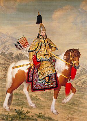 El emperador Qiaulong a caballo