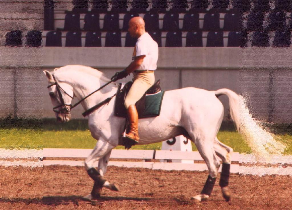 Enrique Sarasola en un entrenamiento en Aachen con DOPE DOUX para los JJ.OO de Sydney