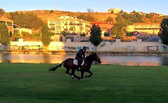 Albert Hermoso con MIRLA, en un entrenamiento para la cita británica. Foto del facebook del jinete catalán