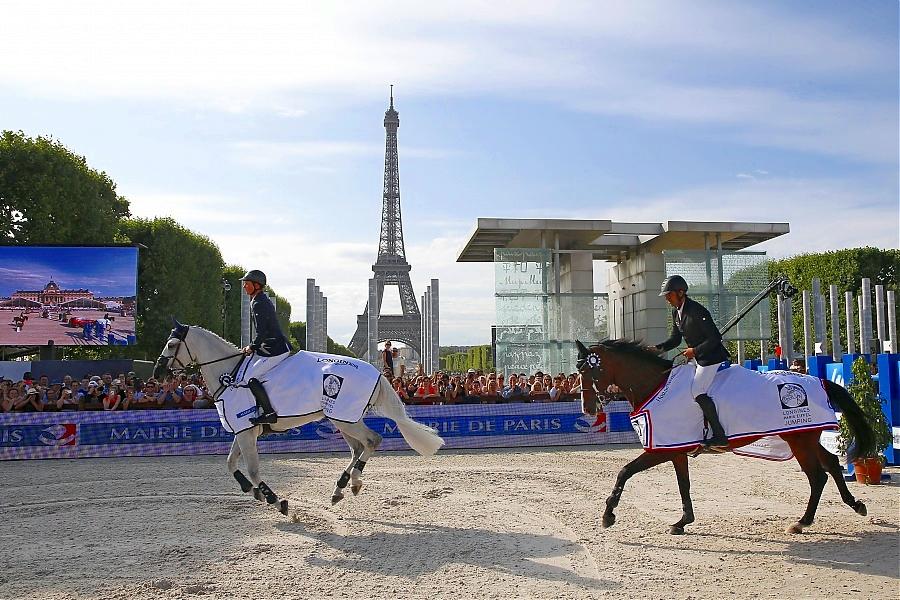Ben Maher y Karin El zoghby.  Foto de la galeria de la Gobal Champions Tour de París