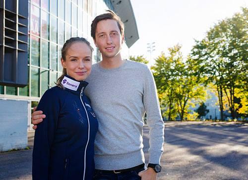 Anna Julia Kontio con su novio el asmismio importante jinete Martin Fuchs